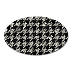 Houndstooth1 Black Marble & Silver Foil Oval Magnet by trendistuff