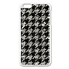Houndstooth1 Black Marble & Silver Foil Apple Iphone 6 Plus/6s Plus Enamel White Case by trendistuff