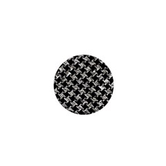 Houndstooth2 Black Marble & Silver Foil 1  Mini Buttons by trendistuff