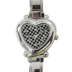 Houndstooth2 Black Marble & Silver Foil Heart Italian Charm Watch by trendistuff