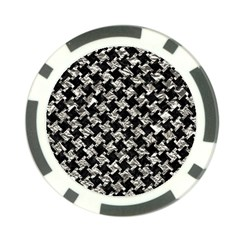 Houndstooth2 Black Marble & Silver Foil Poker Chip Card Guard (10 Pack) by trendistuff