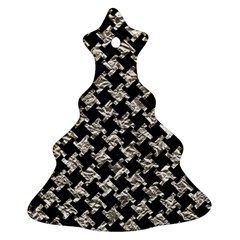 Houndstooth2 Black Marble & Silver Foil Christmas Tree Ornament (two Sides) by trendistuff