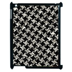Houndstooth2 Black Marble & Silver Foil Apple Ipad 2 Case (black) by trendistuff