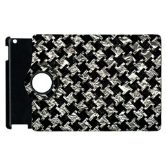 Houndstooth2 Black Marble & Silver Foil Apple Ipad 2 Flip 360 Case by trendistuff