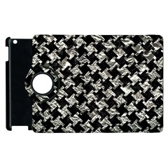 Houndstooth2 Black Marble & Silver Foil Apple Ipad 3/4 Flip 360 Case by trendistuff
