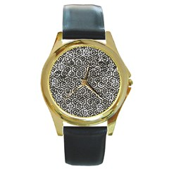 Hexagon1 Black Marble & Silver Foil Round Gold Metal Watch by trendistuff