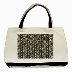 Hexagon1 Black Marble & Silver Foil Basic Tote Bag by trendistuff