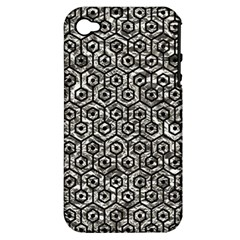 Hexagon1 Black Marble & Silver Foil Apple Iphone 4/4s Hardshell Case (pc+silicone)