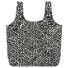 Hexagon1 Black Marble & Silver Foil Full Print Recycle Bags (l)  by trendistuff