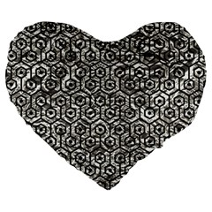 Hexagon1 Black Marble & Silver Foil Large 19  Premium Flano Heart Shape Cushions by trendistuff