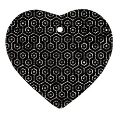 Hexagon1 Black Marble & Silver Foil (r) Heart Ornament (two Sides) by trendistuff