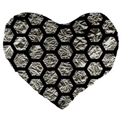 Hexagon2 Black Marble & Silver Foil Large 19  Premium Heart Shape Cushions by trendistuff