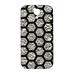 Hexagon2 Black Marble & Silver Foil Samsung Galaxy S4 I9500/i9505  Hardshell Back Case by trendistuff