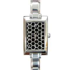 Hexagon2 Black Marble & Silver Foil (r) Rectangle Italian Charm Watch by trendistuff