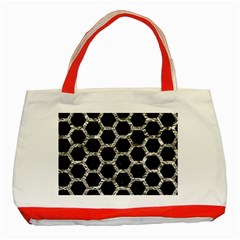 Hexagon2 Black Marble & Silver Foil (r) Classic Tote Bag (red) by trendistuff