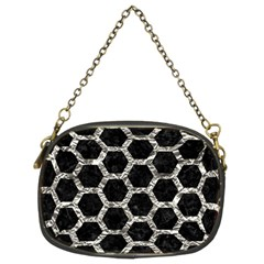Hexagon2 Black Marble & Silver Foil (r) Chain Purses (two Sides)  by trendistuff
