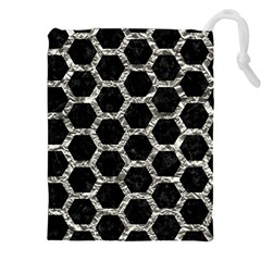 Hexagon2 Black Marble & Silver Foil (r) Drawstring Pouches (xxl) by trendistuff