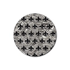 Royal1 Black Marble & Silver Foil (r) Rubber Coaster (round)  by trendistuff