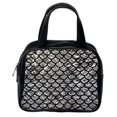 Scales1 Black Marble & Silver Foil Classic Handbags (one Side) by trendistuff