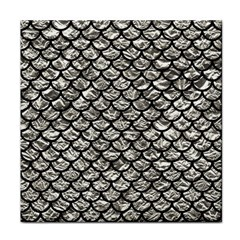 Scales1 Black Marble & Silver Foil Face Towel by trendistuff
