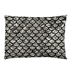 Scales1 Black Marble & Silver Foil Pillow Case by trendistuff