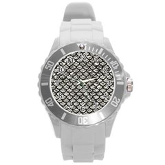 Scales1 Black Marble & Silver Foil Round Plastic Sport Watch (l) by trendistuff