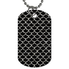 Scales1 Black Marble & Silver Foil (r) Dog Tag (two Sides) by trendistuff