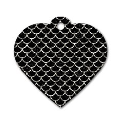 Scales1 Black Marble & Silver Foil (r) Dog Tag Heart (one Side) by trendistuff