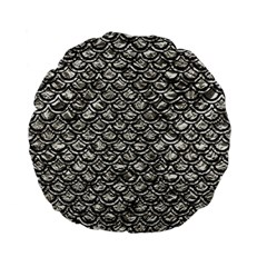 Scales2 Black Marble & Silver Foil Standard 15  Premium Flano Round Cushions