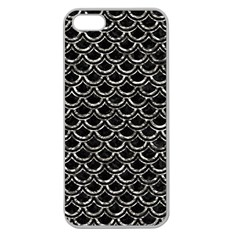 Scales2 Black Marble & Silver Foil (r) Apple Seamless Iphone 5 Case (clear) by trendistuff
