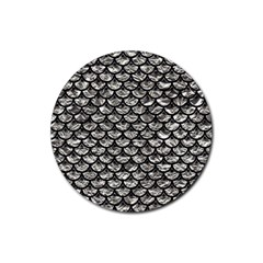Scales3 Black Marble & Silver Foil Rubber Coaster (round)  by trendistuff