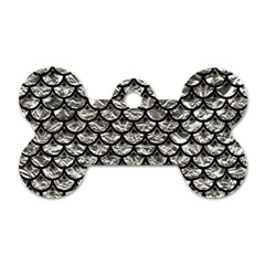 Scales3 Black Marble & Silver Foil Dog Tag Bone (one Side) by trendistuff