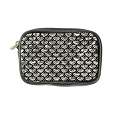 Scales3 Black Marble & Silver Foil Coin Purse by trendistuff