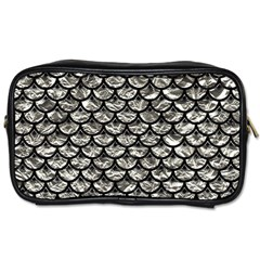Scales3 Black Marble & Silver Foil Toiletries Bags 2 Side by trendistuff