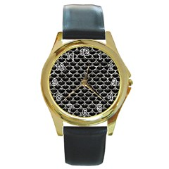 Scales3 Black Marble & Silver Foil (r) Round Gold Metal Watch by trendistuff