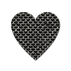 Scales3 Black Marble & Silver Foil (r) Heart Magnet by trendistuff