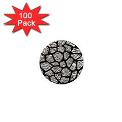 Skin1 Black Marble & Silver Foil (r) 1  Mini Magnets (100 Pack)  by trendistuff