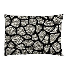 Skin1 Black Marble & Silver Foil (r) Pillow Case by trendistuff