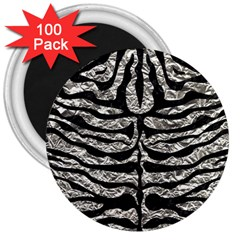 Skin2 Black Marble & Silver Foil 3  Magnets (100 Pack) by trendistuff