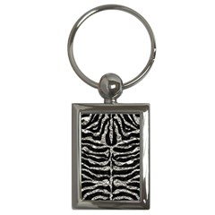 Skin2 Black Marble & Silver Foil (r) Key Chains (rectangle)  by trendistuff