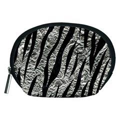 Skin3 Black Marble & Silver Foil Accessory Pouches (medium)  by trendistuff