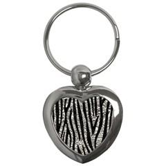 Skin4 Black Marble & Silver Foil (r) Key Chains (heart)  by trendistuff