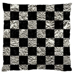 Square1 Black Marble & Silver Foil Standard Flano Cushion Case (two Sides) by trendistuff