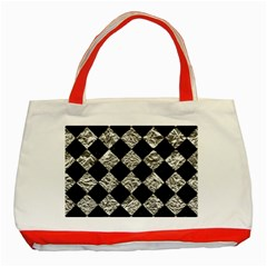 Square2 Black Marble & Silver Foil Classic Tote Bag (red) by trendistuff