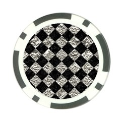 Square2 Black Marble & Silver Foil Poker Chip Card Guard (10 Pack) by trendistuff