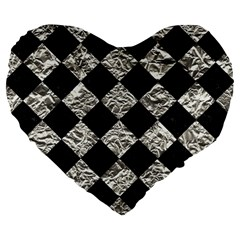 Square2 Black Marble & Silver Foil Large 19  Premium Flano Heart Shape Cushions by trendistuff