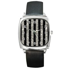 Stripes1 Black Marble & Silver Foil Square Metal Watch by trendistuff