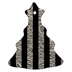 Stripes1 Black Marble & Silver Foil Christmas Tree Ornament (two Sides) by trendistuff