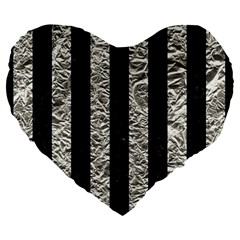 Stripes1 Black Marble & Silver Foil Large 19  Premium Flano Heart Shape Cushions by trendistuff