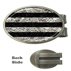 Stripes2 Black Marble & Silver Foil Money Clips (oval)  by trendistuff